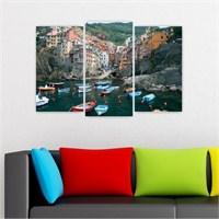 Dekoriza İtalya Como Gölü 3 Parçalı Kanvas Tablo 80X50cm