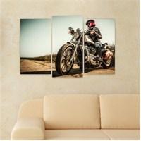 Dekoriza Motorsiklet & Kadın 3 Parçalı Kanvas Tablo 80X50cm