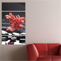 Dekoriza Siyah & Beyaz Çiçekli 3 Parçalı Kanvas Tablo 70X125cm