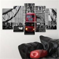Dekoriza Siyah & Beyaz Londra 5 Parçalı Kanvas Tablo 110X60cm