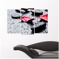 Dekoriza Siyah & Beyaz Taşta Yaprak 3 Parçalı Kanvas Tablo 80X50cm