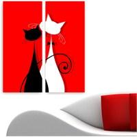 Dekoriza Soyut Kediler & Aşk 2 Parçalı Kanvas Tablo 62X70cm
