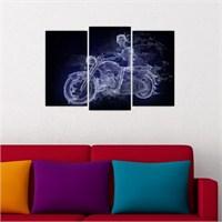 Dekoriza Mor Alev Motorsiklet 3 Parçalı Kanvas Tablo 80X50cm