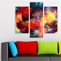 Dekoriza Soyut Renkler 3 Parçalı Kanvas Tablo 95X80cm