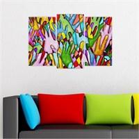 Dekoriza Soyut Renkli Eller 3 Parçalı Kanvas Tablo 80X50cm