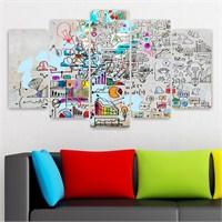 Dekoriza Soyut 5 Parçalı Kanvas Tablo 110X60cm
