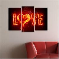 Dekoriza Love 3 Parçalı Kanvas Tablo 80X50cm