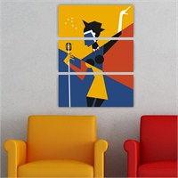Dekoriza Soyut Şarkıcı Kadın 3 Parçalı Kanvas Tablo 70X95cm