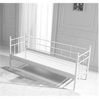 Lalas Metal Sofa 90*200 Beyaz Mindersiz