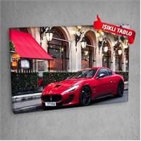 Kırmızı-Spor-Araba Led Işıklı Kanvas Tablo 50X70 Cm
