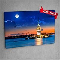 Kız-Kulesi-Dark Led Işıklı Kanvas Tablo 50X70 Cm