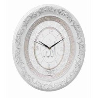 Beyaz Gümüş Yaldız Çerçeveli Taşlı Duvar Saati