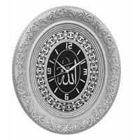 Gümüş Yaldız Çerçeveli Taşlı Duvar Saati