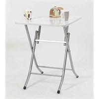 Ellnaz Yana Yatan Mutfak ve Balkon Masası Beyaz 45x60