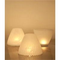 Arkideco Glow El Yapımı Cam Mumluk - Beyaz