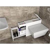 Evmanya Haus Fonksiyonel Çekmeceli Banyo Dolabı - Beyaz