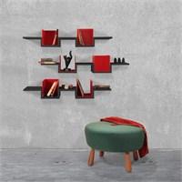 Decortie Ales Kitaplık Üçlü Set Siyah-Kırmızı