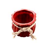 Evino Seramik Kurdelalı Geniş Saksı Kırmızı