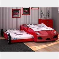 Arabalı Yatak - 3D Yavrulu - Kırmızı