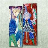 Dekorjinal 2 Li Dikdörtgen Kanvas Tablo Seti Sel046