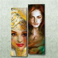 Dekorjinal 2 Li Dikdörtgen Kanvas Tablo Seti Sel054