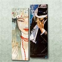 Dekorjinal 2 Li Dikdörtgen Kanvas Tablo Seti Sel097