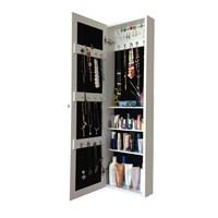First - Aynalı Takı Ve Aksesuar Dolabı Duvara Asma Beyaz Siyah