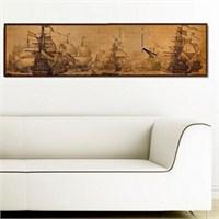 Antik Gemiler - Çerçeveli Kanvas Saat