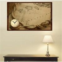 Harita - Çerçeveli Kanvas Saat
