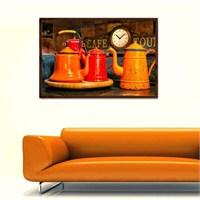 Renkli Çaydanlıklar - Çerçeveli Kanvas Saat