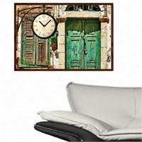 Yeşil Kapı - Çerçeveli Kanvas Saat