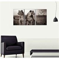 Aslanlar - 3 Parçalı Kanvas Saat