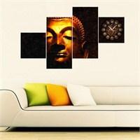 Buddha - 4 Parçalı Kanvas Saat