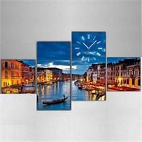 Venedik - 4 Parçalı Kanvas Saat