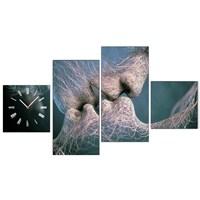 Kiss - 4 Parçalı Kanvas Saat