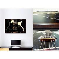 Gerçek Telli Ve Çerçeveli Siyah Gitar Tablosu 40X60 Cm