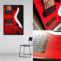 Gerçek Telli Ve Çerçeveli Kırmızı Gitar Tablosu 40X60 Cm