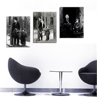 Charlie Chaplin - 3 Parçalı Kanvas Tablo