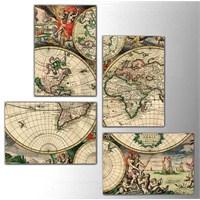 Antik Harita - 4 Parçalı Kanvas Tablo