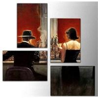 Kırmızı Cafe - 4 Parçalı Kanvas Tablo