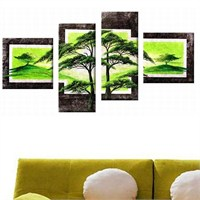 Yeşil Doğa - 4 Parçalı Kanvas Tablo