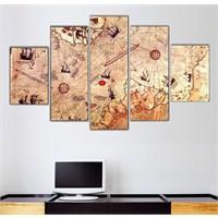 Piri Reis Haritası - 5 Parçalı Kanvas Tablo - 133X75 Cm