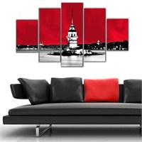 Kırmızı Kız Kulesi - 5 Parçalı Kanvas Tablo - 133X75 Cm