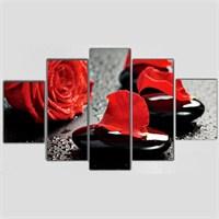 Kırmızı Yapraklar - 5 Parçalı Kanvas Tablo - 133X75 Cm