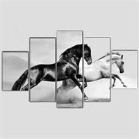 Koşan Atlar - 5 Parçalı Kanvas Tablo - 133X75 Cm