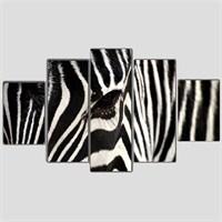 Zebra - 5 Parçalı Kanvas Tablo - 133X75 Cm