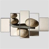 Dengedeki Taşlar - 5 Parçalı Kanvas Tablo - 133X75 Cm