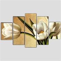 Beyaz Çiçekler - 5 Parçalı Kanvas Tablo - 133X75 Cm