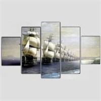 Gemiler - 5 Parçalı Kanvas Tablo - 133X75 Cm