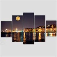 İzmir'de Dolunay - 5 Parçalı Kanvas Tablo - 133X75 Cm